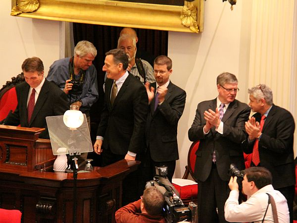 Gov. Peter Shumlin is seen at the Statehouse shortly after he was sworn in for his second two-year term. (VPR/Kirk Carapezza)